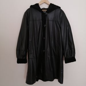 Manteaux Manteaux Black Leather Trench Coat | NWOT